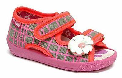 Bebé Zapatos de Lona para Niña -nursery Pantuflas Sandalias Talla #20 uk4...