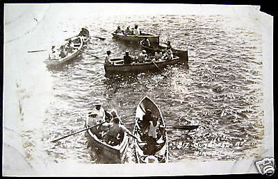 Jamaica~1920's BUMBOATS AT KINGSTON ~ FERRY BOAT PASSENGERS ~ RPPC ~