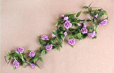 Artificial Rose Garland Silk Flower Vine for Home Decoration--Purple R8R8 - Rose Garland
