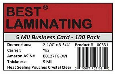 Best Laminating 5 mil. Business Card Laminating Pouches. 100 pk. ()
