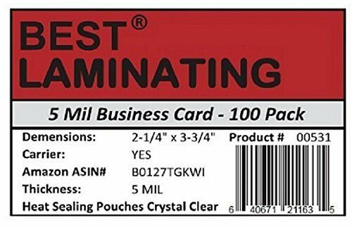 Best Laminating 5 mil. Business Card Laminating Pouches. 100 pk.