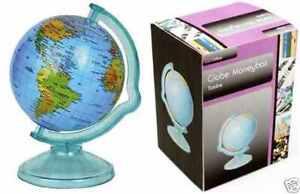 Money Box World Globe Piggy Bank Coins Cash Counting Saving Deposit Jar Plastic