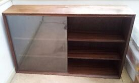 REDUCED!RETRO VINTAGE MAHOGANY SIDEBOARD WITH SLIDING GLASS PANELS- REDUCED FOR QUICK SALE