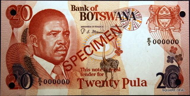 ND Choice UNC Beautiful Color P-10s2 Bank of Botswana Specimen Twenty Pula!!
