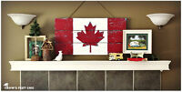 Canada and VI themed coasters, furniture and wall art
