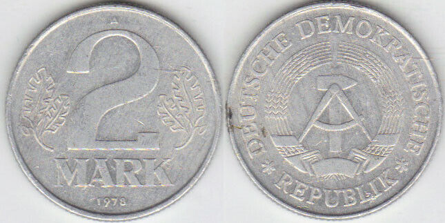 EAST GERMANY: 6-PIECE CIRCULATED COIN SET 0.01 TO 2 MARK