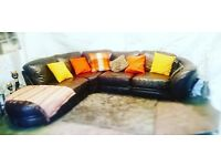 Large brown leather corner sofa. Very Good Condition.