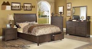 Solid Wood Queen 8 PC Sleigh Bedroom Set (MA718)