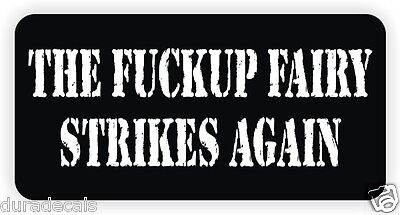 Fckup Fairy Hard Hat Sticker Decal Label Laborer Motorcycle Helmet Funny
