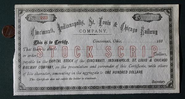 1880 Cincinnati-Indianapolis-St.Louis-Chicago Railroad Unused Stock Certificate*