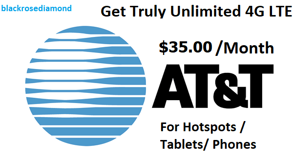 AT&T Unlimited Data 4G LTE Plan* $35 a month*For Hotspots /