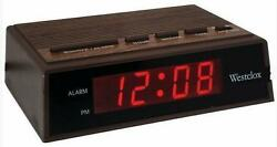 Westclox LED Electric Alarm Clock Retro Wood Grain Appearance Battery Backup