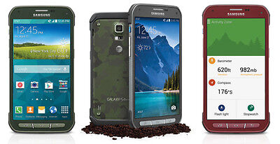 Samsung S5 Active G870a Gray   Green   Red Att Unlocked Grade A Burnt Image