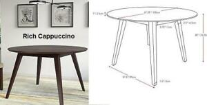 Round Dining Table in Rich Cappuccino or Light Walnut