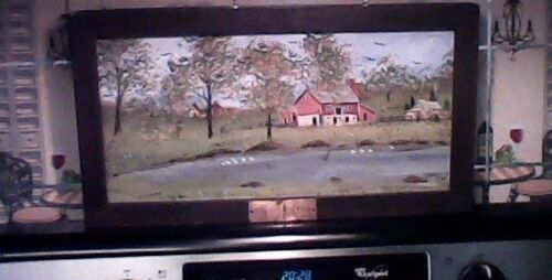 Family Farm Folk Art Style Painting dated 1980