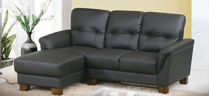 Condo Sized Compact LEATHER SECTIONAL Sofa