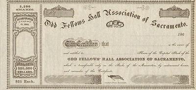 Odd Fellows of Sacramento California stock certificate