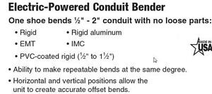 "GB 2"" Emt, Rigid Electric Conduit Bender"