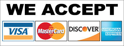 We Accept 4 Credit Cards Amex Visa Mastercard Vinyl Banner Sign New 2x4 Ft Wb