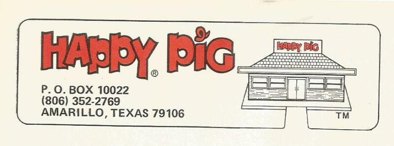 Envelope-HAPPY PIG restaurant,Amarillo,TX.Texas original swine,pork=melaneybuy