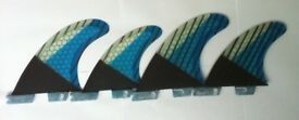 SURFBOARD FINS Honeycomb/Carbon FCS II Surf Fin,G5/M5 Quads or Thruster Performance Core Blue