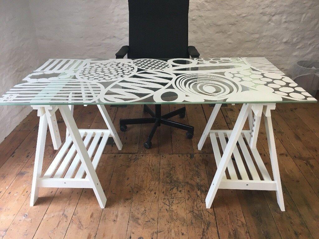 Ikea Glasholm Egg Pattern Table Top 2 Finnvard Trestles In Rh Gumtree Com Desk Stain Resistance Glass