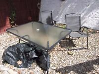 6 seater table/chairs/cover/large square parasol