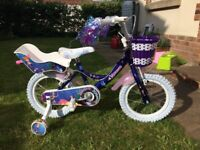 "14"" Claud Butler Girls Mermaid Bike Nearly New with Dolls Seat and Basket"
