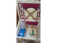 BRAND NEW 2 person white wicker picnic basket with blanket , plates, cutlery, wine glasses, napkins