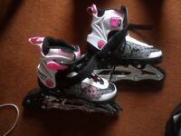 Girls inline skates, Adjustable - sizes 33 -36, Used only once