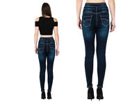 2 Womens Ladies High Waisted Blue Skinny Fit Jeans *NEW* size 14