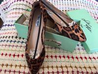 Leopard Print Ballet Pumps Flat Shoes Size 7