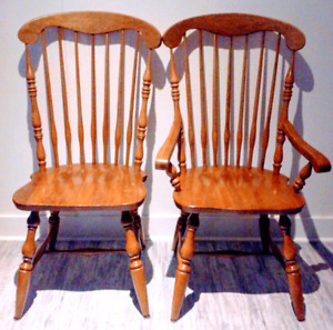 4 XL Modern WINDSOR Dining Chairs HARDWOOD Antique Vintage
