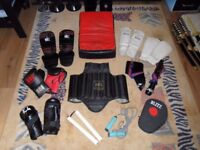 martial arts pads gloves skip rope