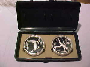 CASED RCM 1988 PROOF SILVER  -FREE STYLE & CROSS COUNTRY SKIING