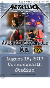 METALLICA AUGUST 16 EDMONTON GENERAL ADMISSION