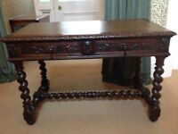 VICTORIAN GOTHIC DARK OAK WRITING TABLE WITH LEATHER INSERT TOP (35)