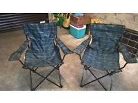 Two Folding Captain's Chairs in Black Watch Tartan c/w Storage Bags with Carrying Straps