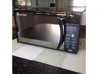 Russell Hobbs black digital mirrored microwave