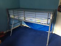 Silver metal high single bed with mattress