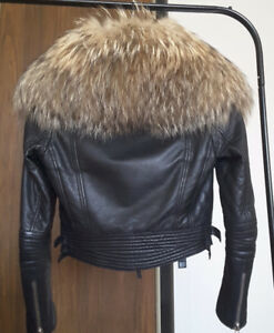 DSQUARED2 LEATHER JACKET WITH RACCOON REAL FUR