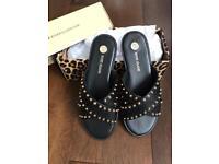 Ladies Black studded sandals Size 39