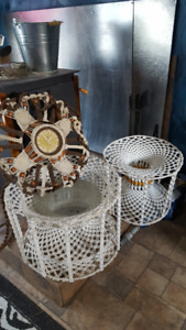 Crochet tables and a clock too