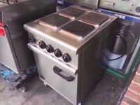 FOUR HOB COMMERCIAL ELECTRICAL CATERING COOKER + OVEN MACHINE TAKEAWAY DINER SHOP PUB CAFE BAR
