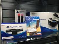 New - PS4 VR Bundle - virtual reality Headset, move remotes, camera & eagle flight game - all new