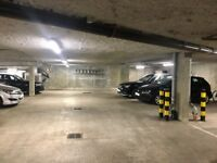Secure underground car parking space, gated with fob entry