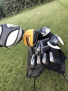 Talyormade right handed clubs and bag