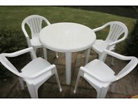 Panther Garden Patio Set Table with removable legs & 4 Stackable Chairs White