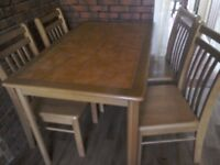 Terracotta Tiled Kitchen Table and Four Chairs
