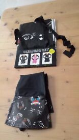 PRESENT TIME Black Rubber ROSE HORSE SHOE WINGS Fun Gloves & Apron Set Gift Cute